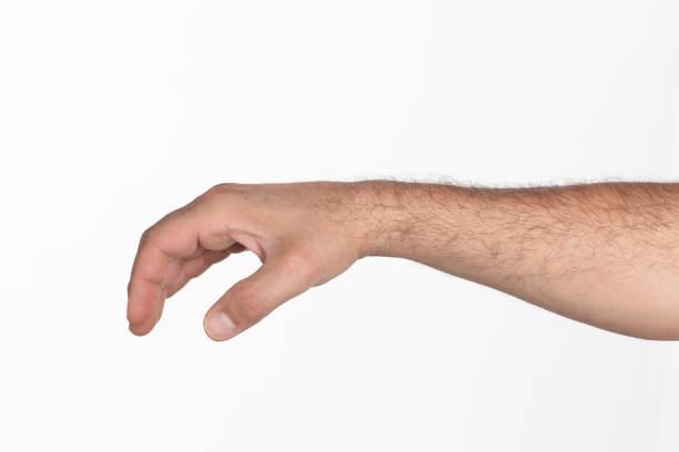 Menschliche Hand halten etwas auf weißem Hintergrund – Foto