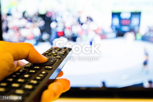 Human hand holding the remote control.