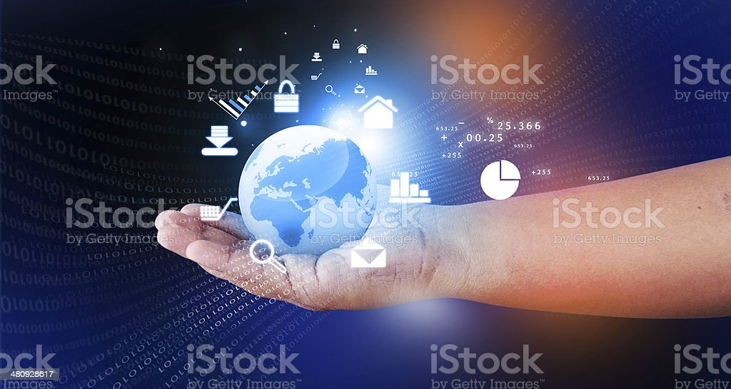 Human hand holding the world, internet icons around the world. Everything on hand stock photo