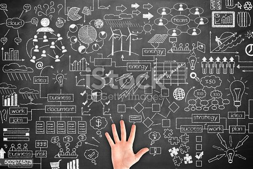 istock Human hand Idea Concept on blackboard 502974573