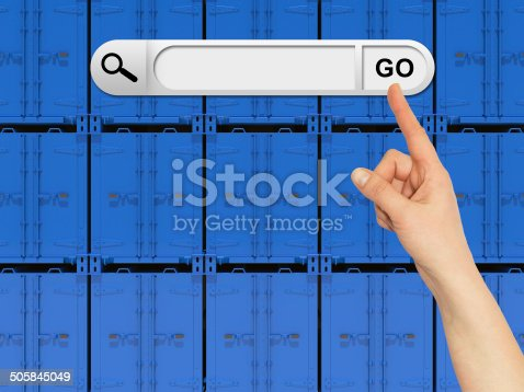 Human hand indicates the search bar in browser. Wall of shipping containers on background