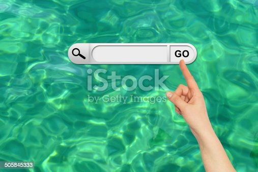 Human hand indicates the search bar in browser. Turquoise water surface on background