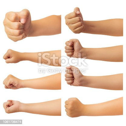 Set of human hand in fist, punch or griping gesture isolated on white background with clipping path,  Low contrast for retouch or graphic design