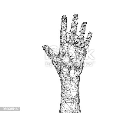 istock Human hand isolated on white background with connection lines and dots in futuristic technology concept. 3d illustration 969085482