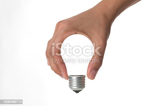 Human hand light bulb shape on white background.