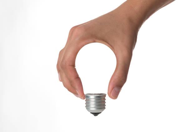 Menschliche Hand Glühbirne – Foto