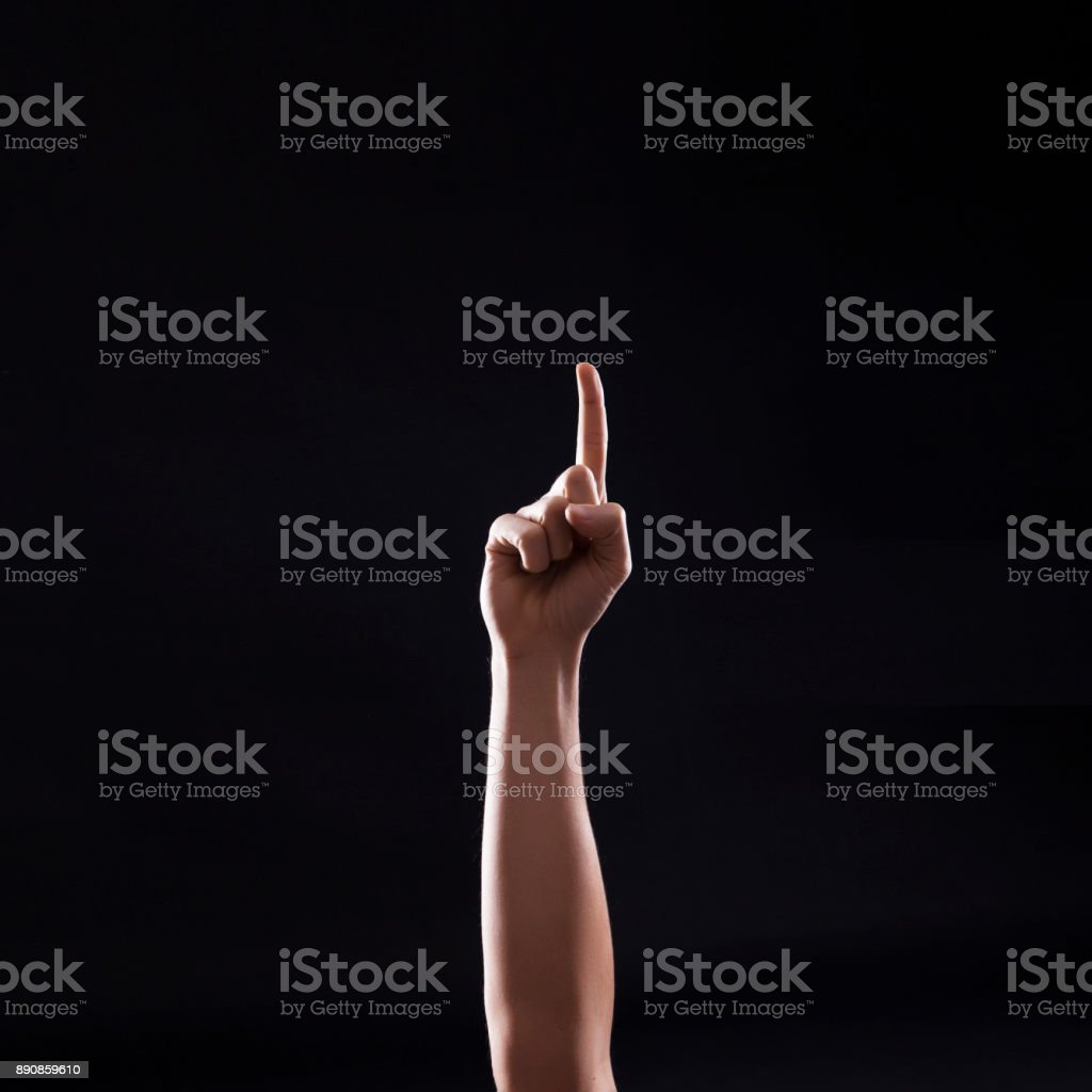 Human Hand Makes a One Sign stock photo