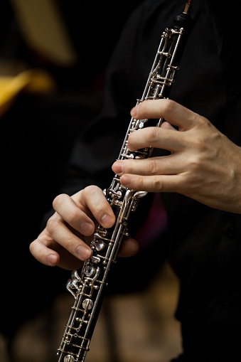 istock Human Hand playing the oboe 526721146