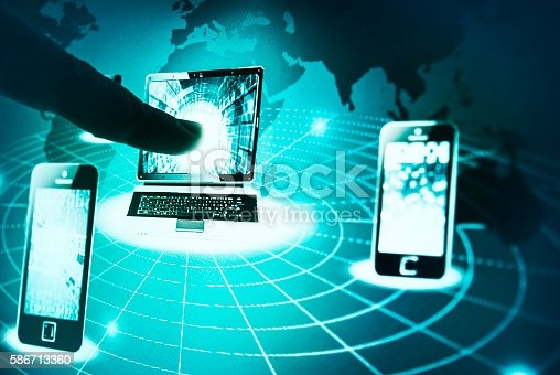 istock Human hand pointing to laptop on a screen 586713360