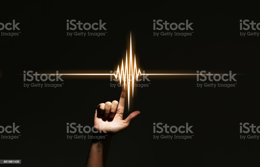 human hand pointing waveform. stock photo
