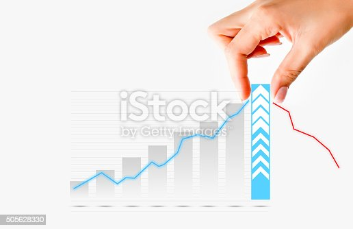875531516istockphoto Human hand pulling graph bar suggesting increase of  business 505628330
