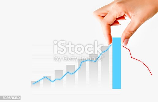 875531516istockphoto Human hand pulling graph bar suggesting increase of  business 505628360