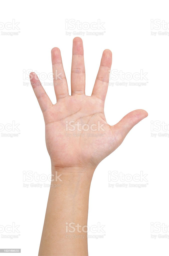 Human hand raised high isolated on white background royalty-free stock photo