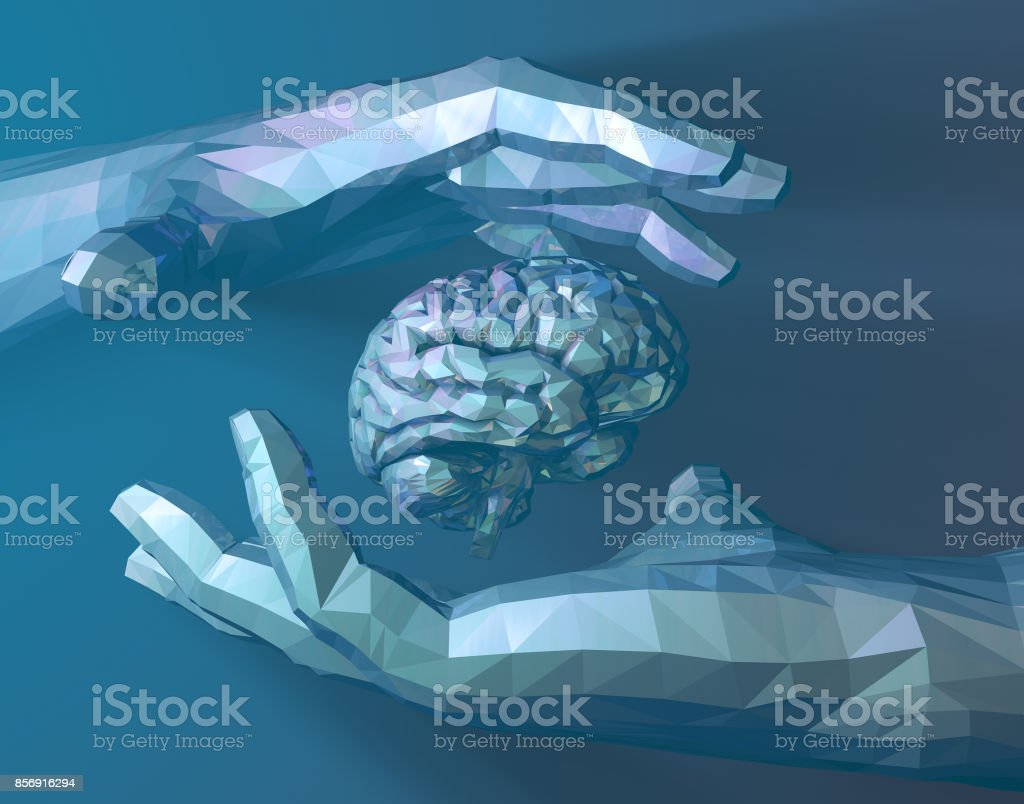 Human hand, science and technology brain, brainstorming stock photo