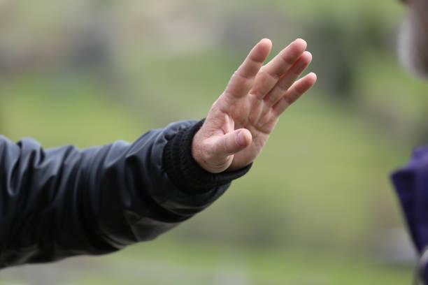 Human hand, selective focus stock photo