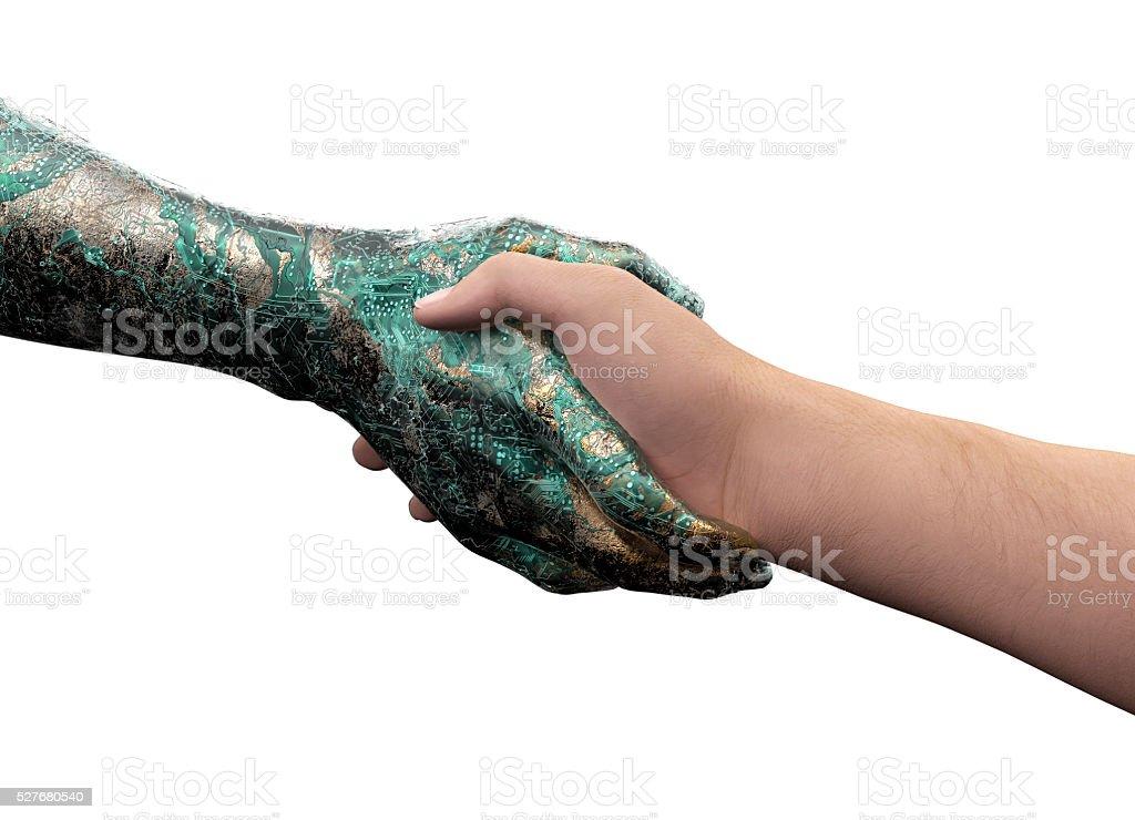 Main de l'homme Débarrassez seul sur Main de robot blanc - Photo