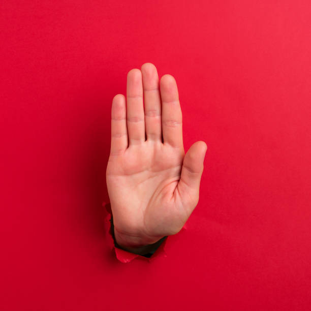"human hand showing ""stop sign"" - stop sign stock pictures, royalty-free photos & images"