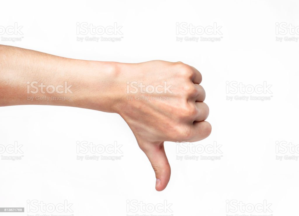 human hand showing thumb down stock photo