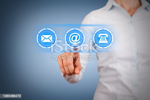 istock Human Hand Touching Contact Us on Visual Screen 1063486470