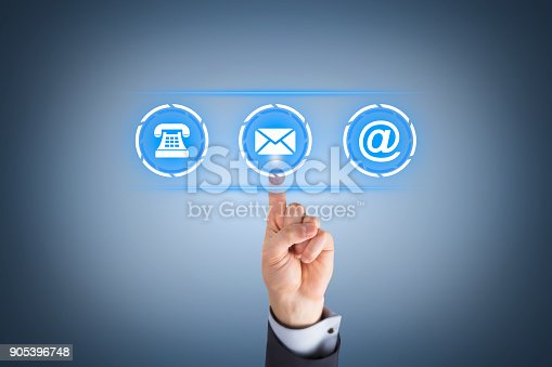 istock Human Hand Touching Contact Us on Visual Screen 905396748