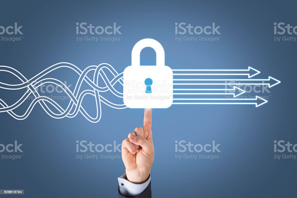 Human Hand Touching Security Button on Screen stock photo
