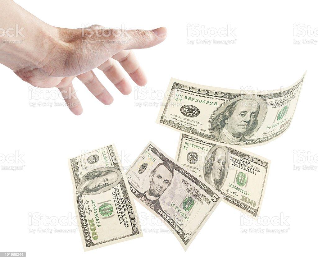 Human hand want to grab floating banknotes stock photo