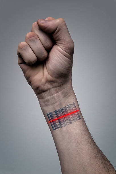 menschliche hand mit barcode-scan - molekül tattoo stock-fotos und bilder