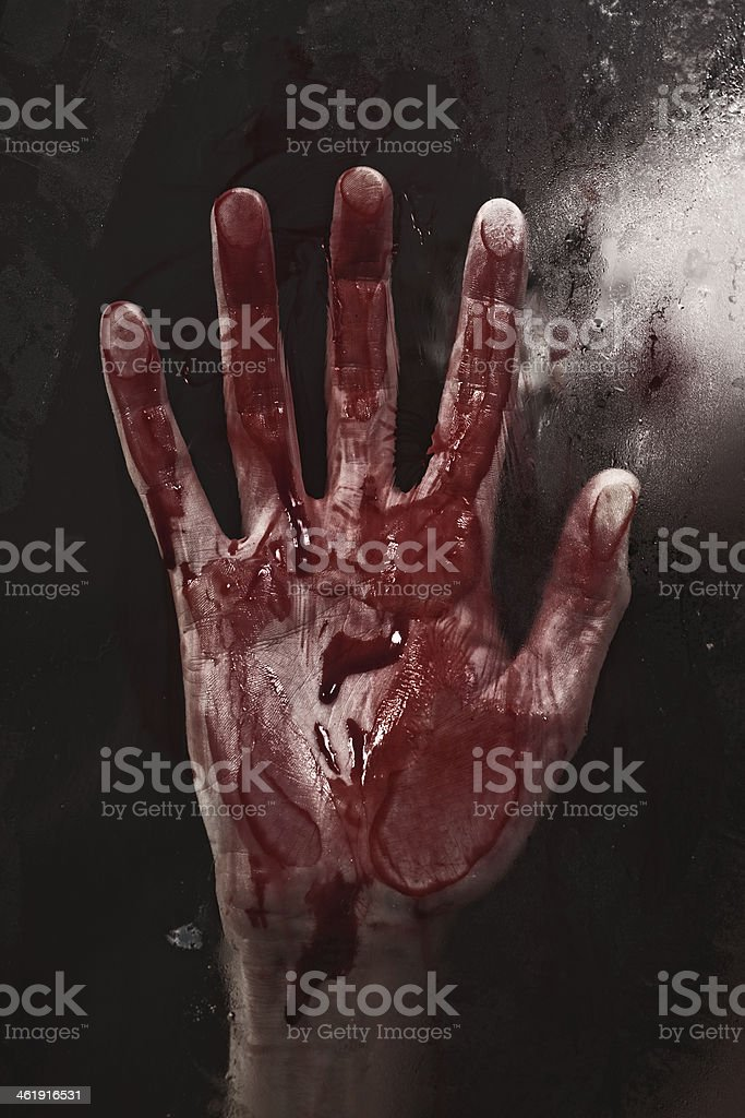 .Human hand with blood. stock photo