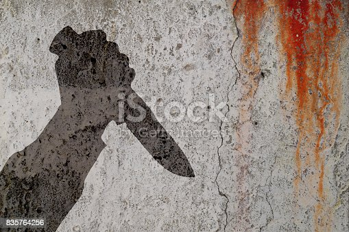 istock Human hand with killing knife silhouette in shadow on bloody cement wall background. 835764256