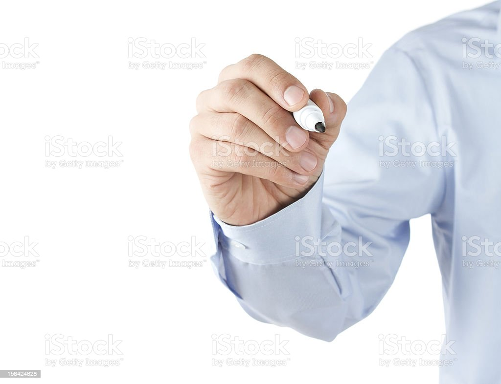 Human hand with pen stock photo