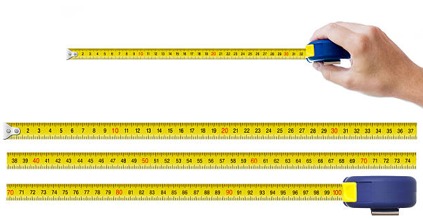 human hand with tape-measure and set of pieces human hand with tape-measure and set of pieces allowing to make any size of tape up to one meter tape measure stock pictures, royalty-free photos & images