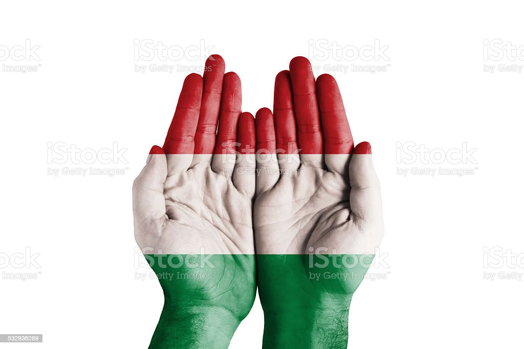 Human Handful Hungary Flag Painted stock photo