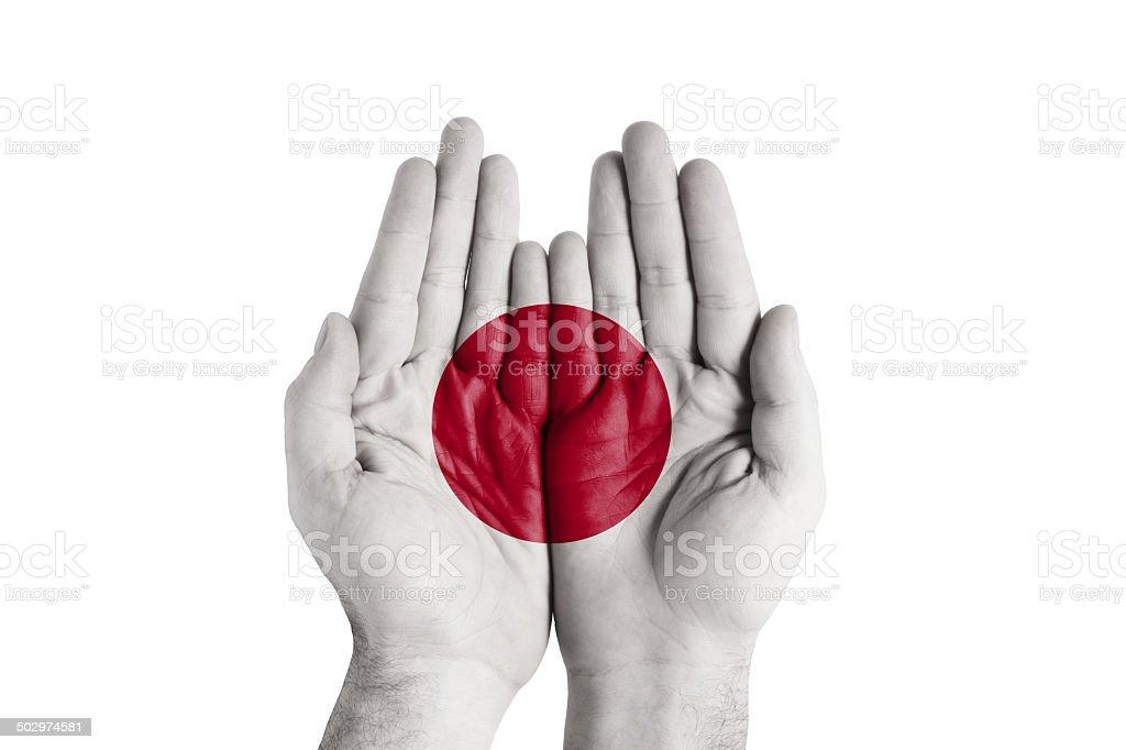 Human Handful Japan Flag Painted royalty-free stock photo