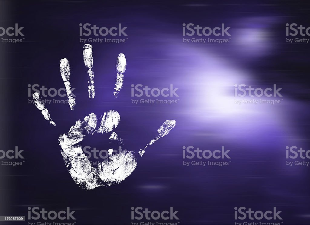 Human handprint in space royalty-free stock photo