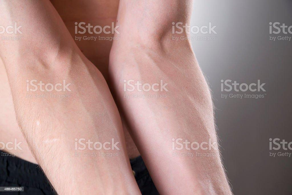 Human hands close-up stock photo