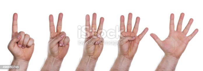 466657402 istock photo Human hands counting numbers from one to five 496680745