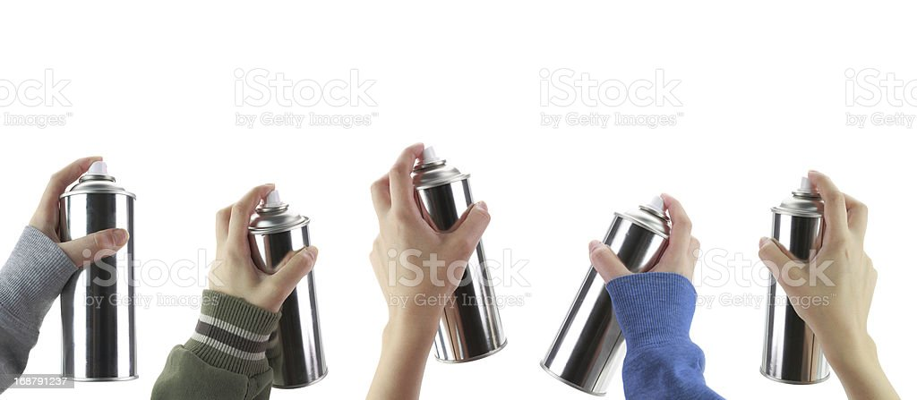 Human hands holding a graffiti Spray can stock photo