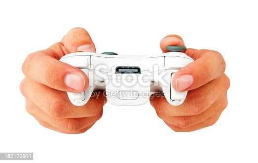 Wireless game controller being played by a man, isolated on white