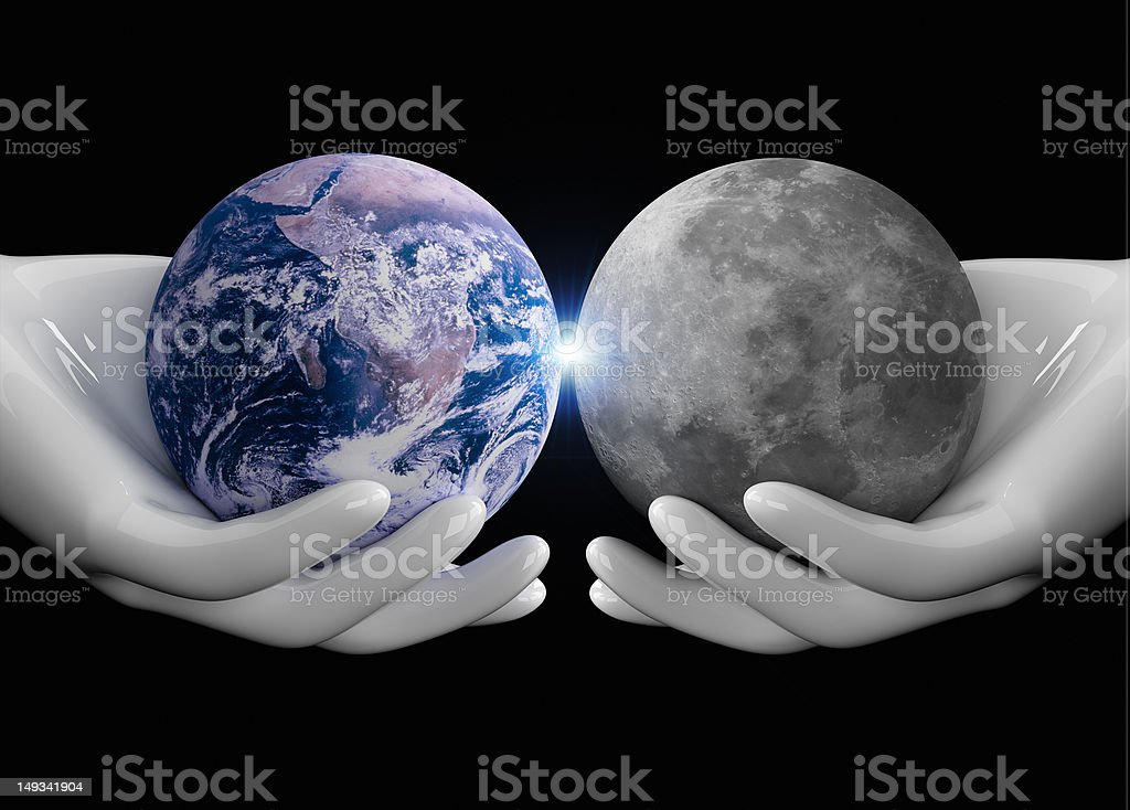 human hands holding the universe royalty-free stock photo