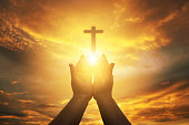 istock Human hands open palm up worship. Eucharist Therapy Bless God Helping Repent Catholic Easter Lent Mind Pray. Christian concept background. 1270958207