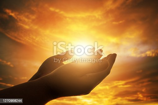 istock Human hands open palm up worship. Eucharist Therapy Bless God Helping Repent Catholic Easter Lent Mind Pray. Christian concept background. 1270958244