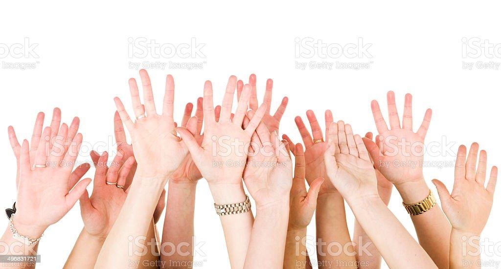 Human Hands Raised stock photo