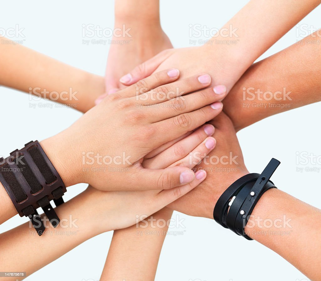 Human hands showing strength against white background royalty-free stock photo