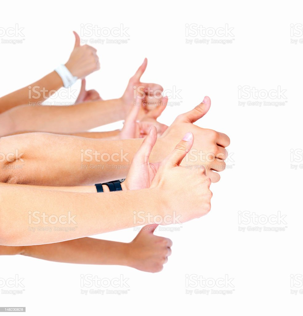 Human hands showing thumbs up over white background royalty-free stock photo