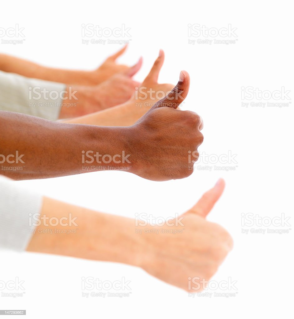 Human hands showing thumb's up sign royalty-free stock photo