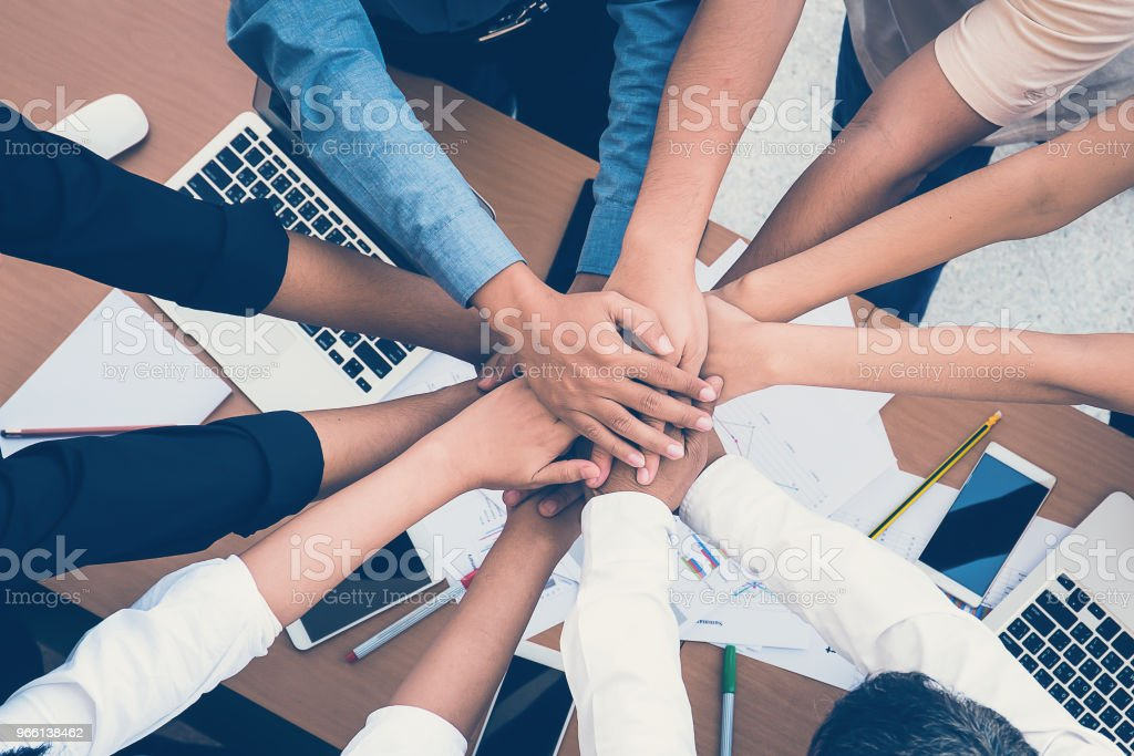Human hands were a collaboration concept of teamwork business trust group of people - Royalty-free Achievement Stock Photo