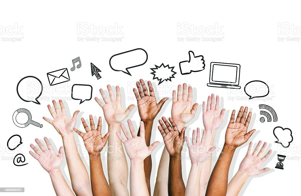 Human Hands with Social Networking Icons stock photo