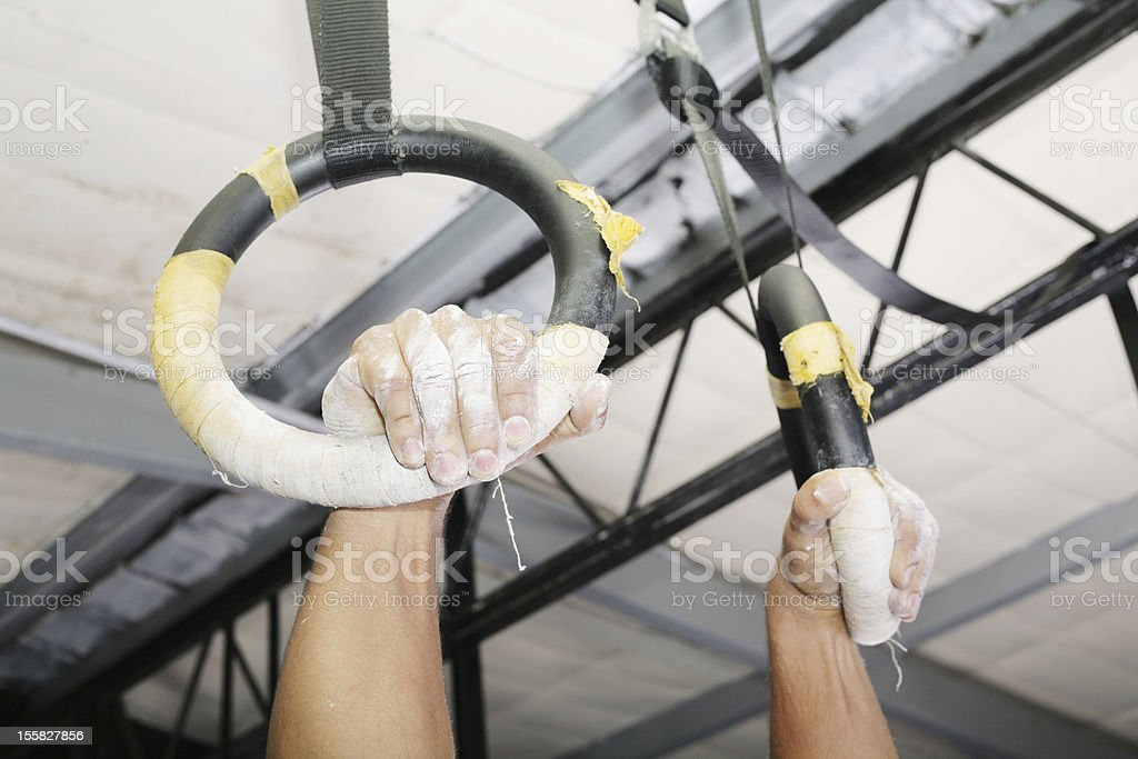 Human hanging in Gymnastic Rings. Focus on the right hand. royalty-free stock photo