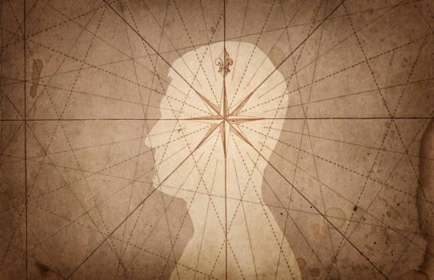 인간의 머리와 나침반입니다. - 도덕성 뉴스 사진 이미지