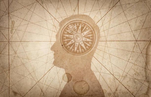 Human head and compass. stock photo